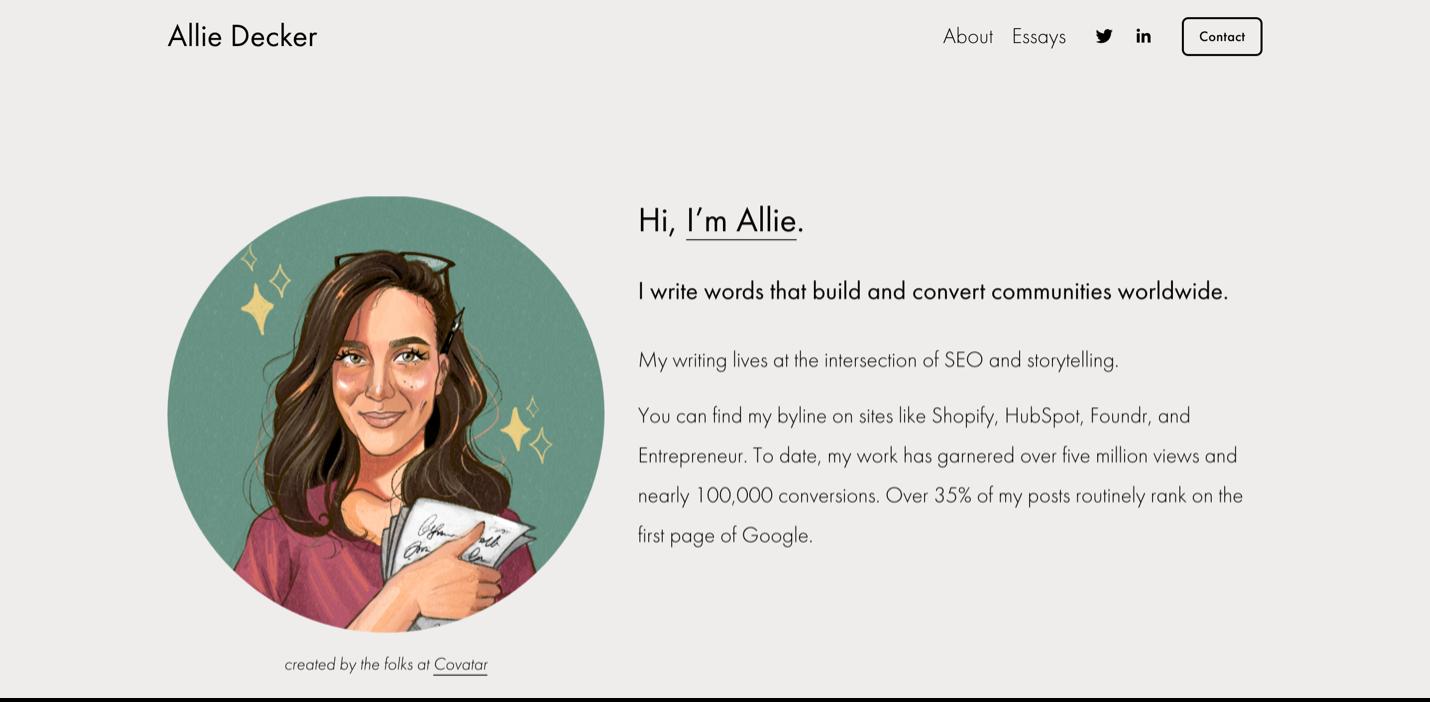 Screenshot Allie Decker website