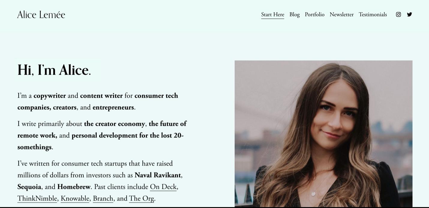 Screenshot Alice Lemée website