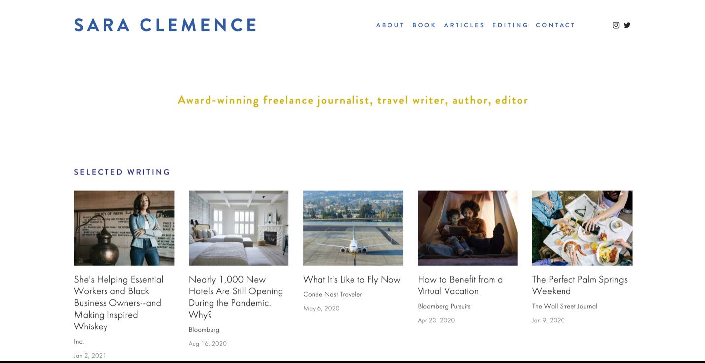 Screenshot Sara Clemence website