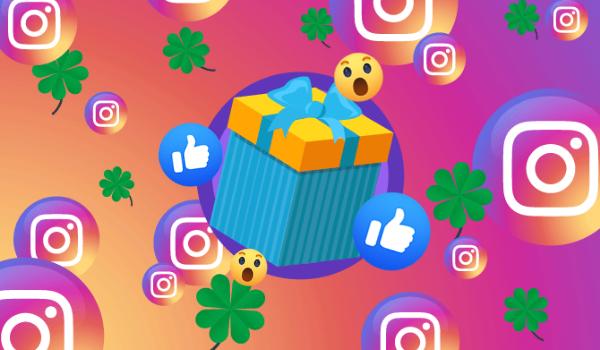 Caixa de presente rodeada por emoticons, curtidas, trevos e símbolos do Instagram