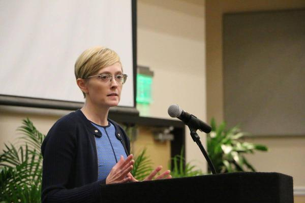 Laura Olson speaks about her work for human rights with the Carter Center at UCF Thursday.