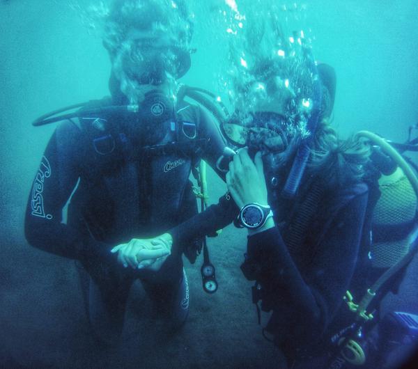 Open water skills, couple team work, El Poris, Tenerife