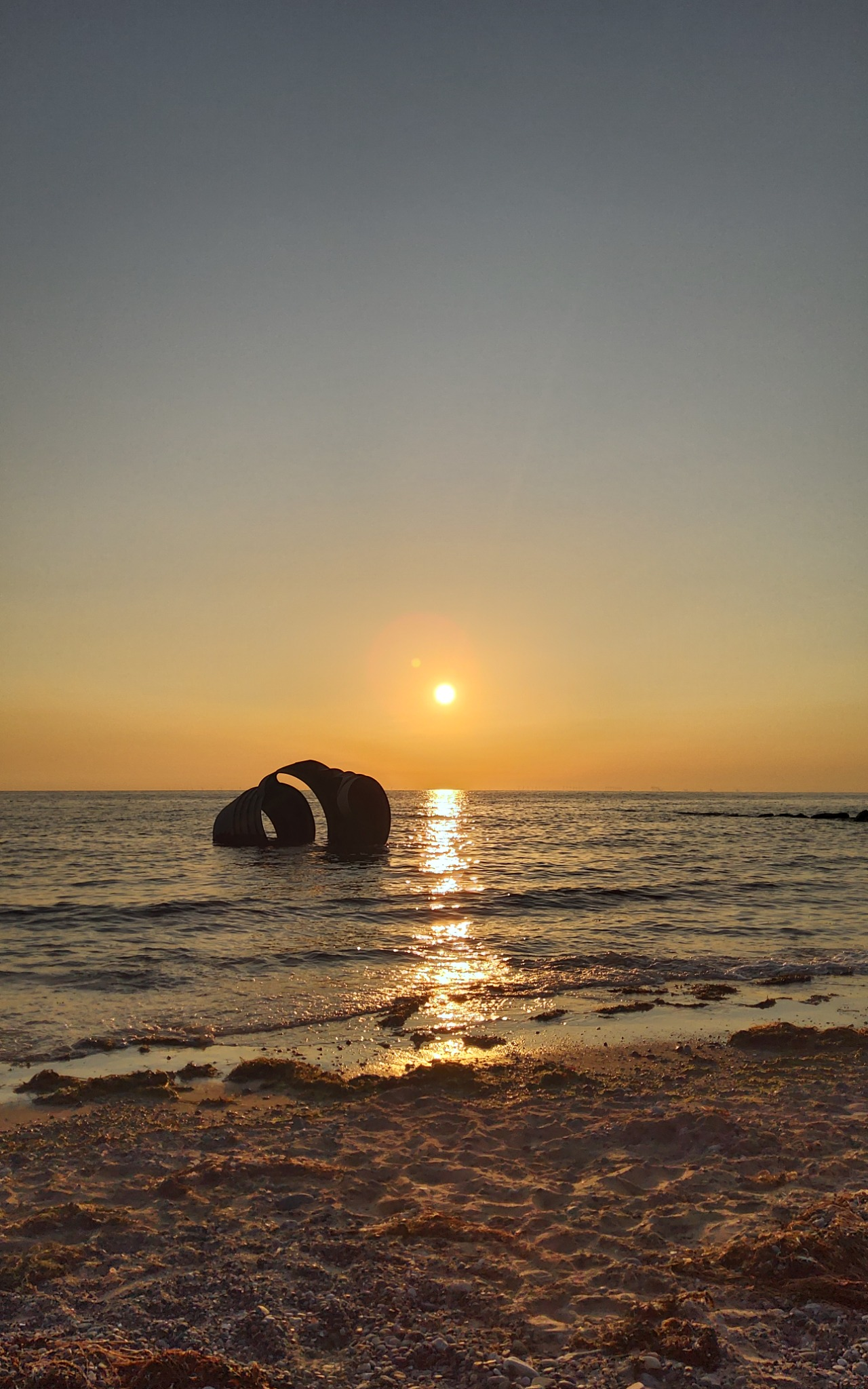 Sunset over the sea at Cleveleys beach