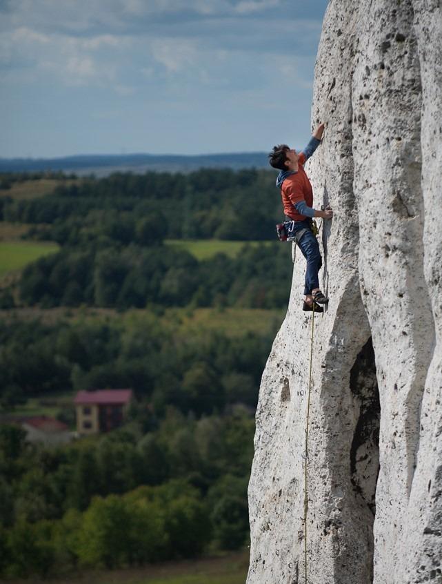 Michael Levy climbing in the Polish Jura, Poland.