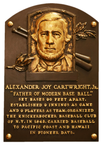 Baseball Hall of Fame plaque for Alexander Joy Cartwright