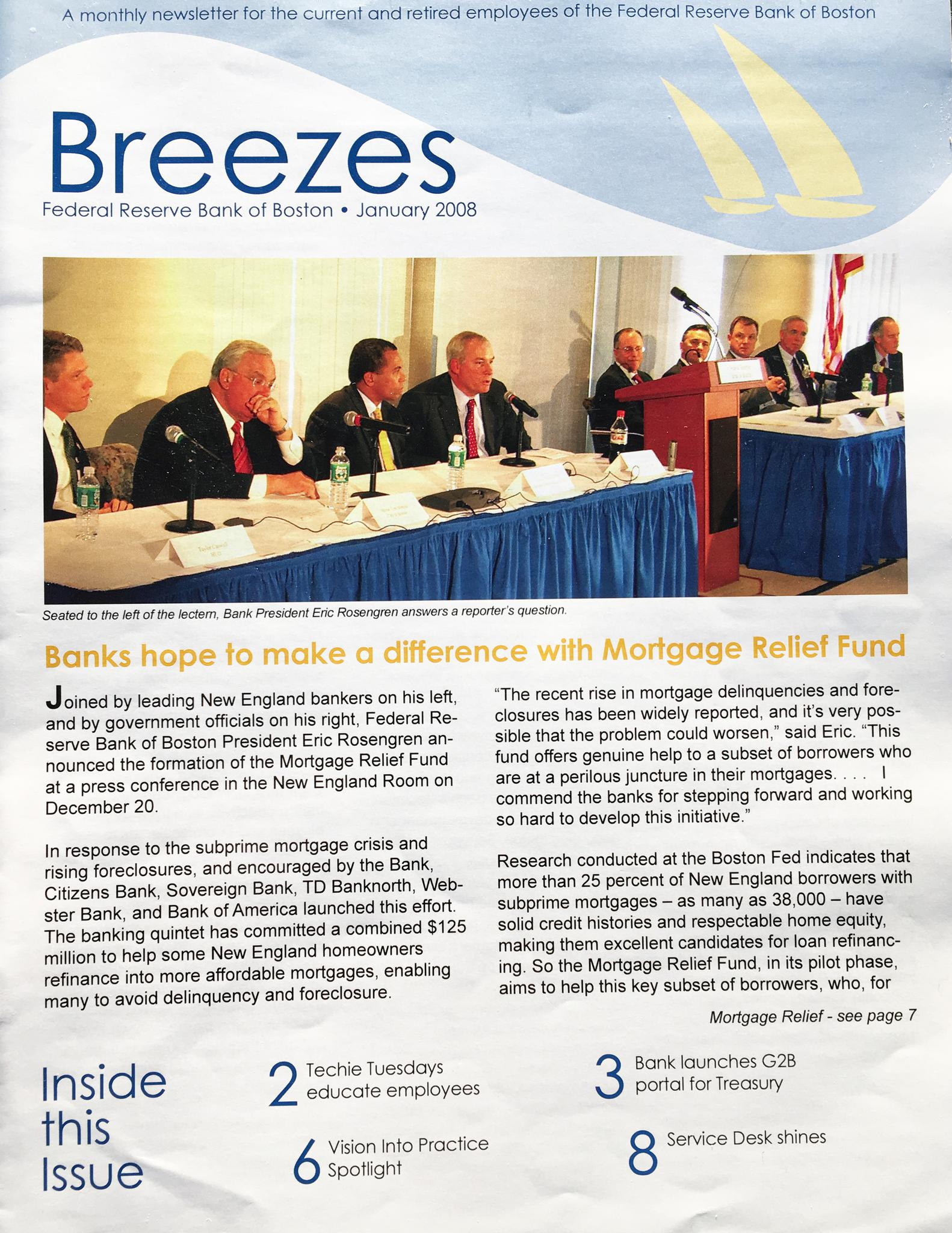 Breezes (Federal Reserve Bank of Boston newsletter for staff and retirees) January 2008