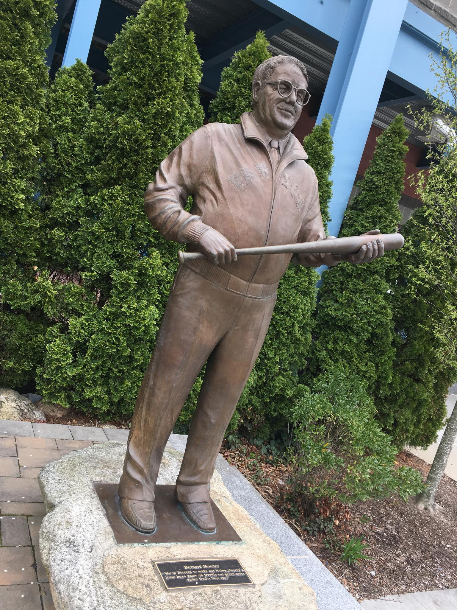 PHOTO: As Mondor did in life, his statue greets fans as they approach McCoy Stadium.