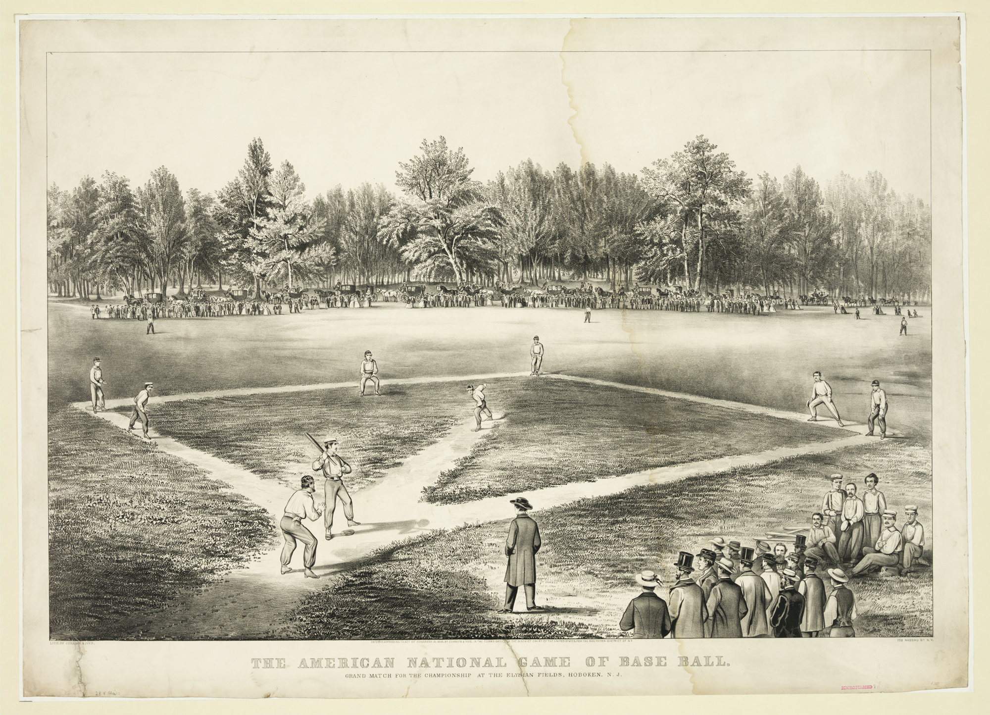 The American National Game of Base Ball. Currier & Ives Lithograph