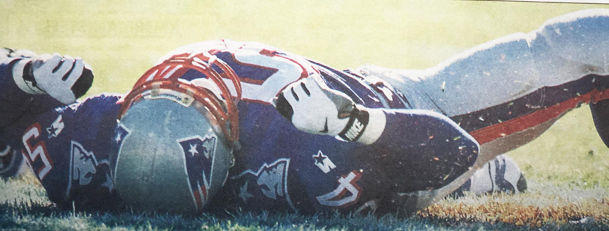 Rookie linebacker Tedy Bruschi dropped the ball on a fake-punt conversion attempt.