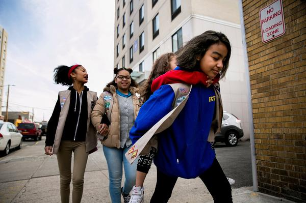 Girl Scouts from Troop 6000 in Queens, NY on an outing in 2017.