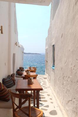 Laneway restaurant on Chora, old town, Mykonos Greece