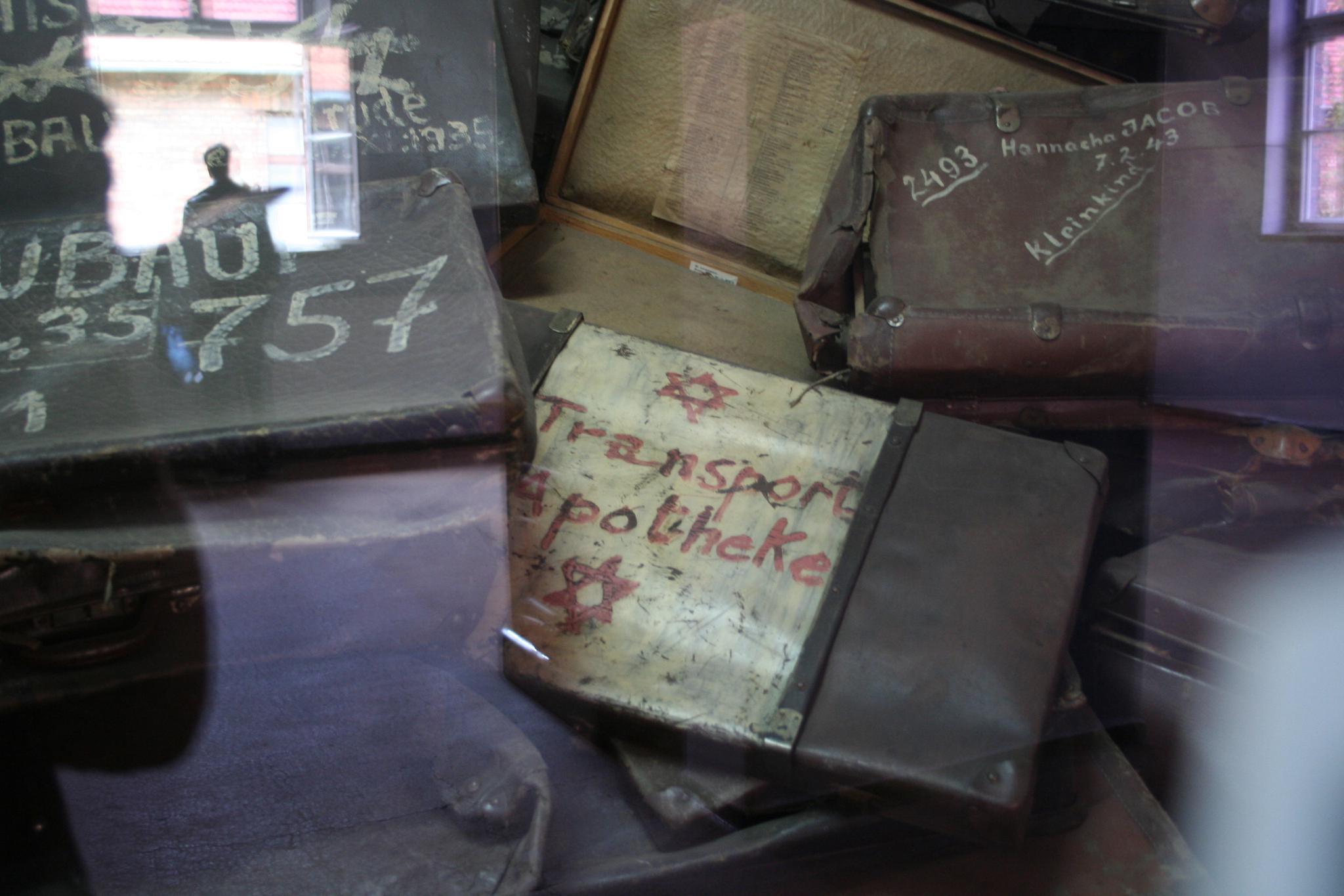 Display cabinets at Auschwitz, Poland.