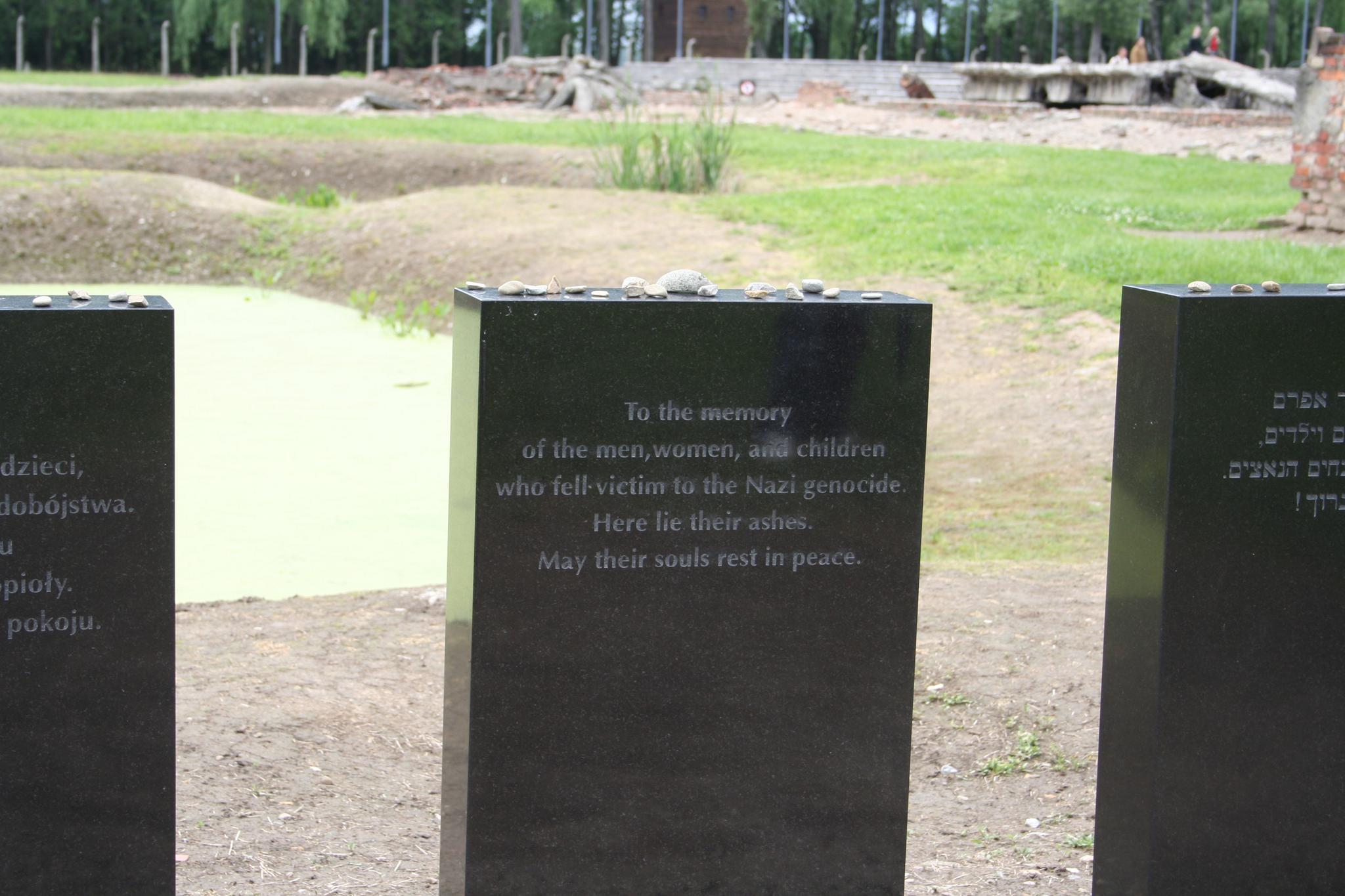 Memorial tombstones at Auschwitz.
