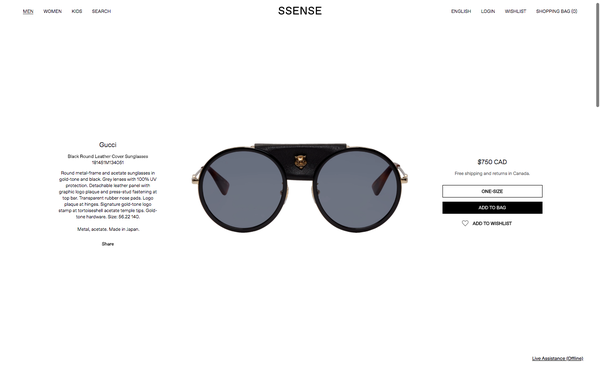 9e38b7f1b2a Technical Product Copy Sample for SSENSE  Gucci