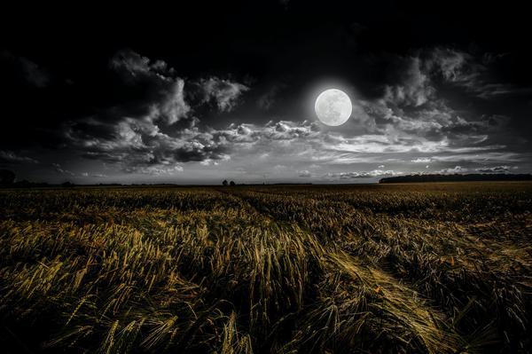 moon night field cloud sky