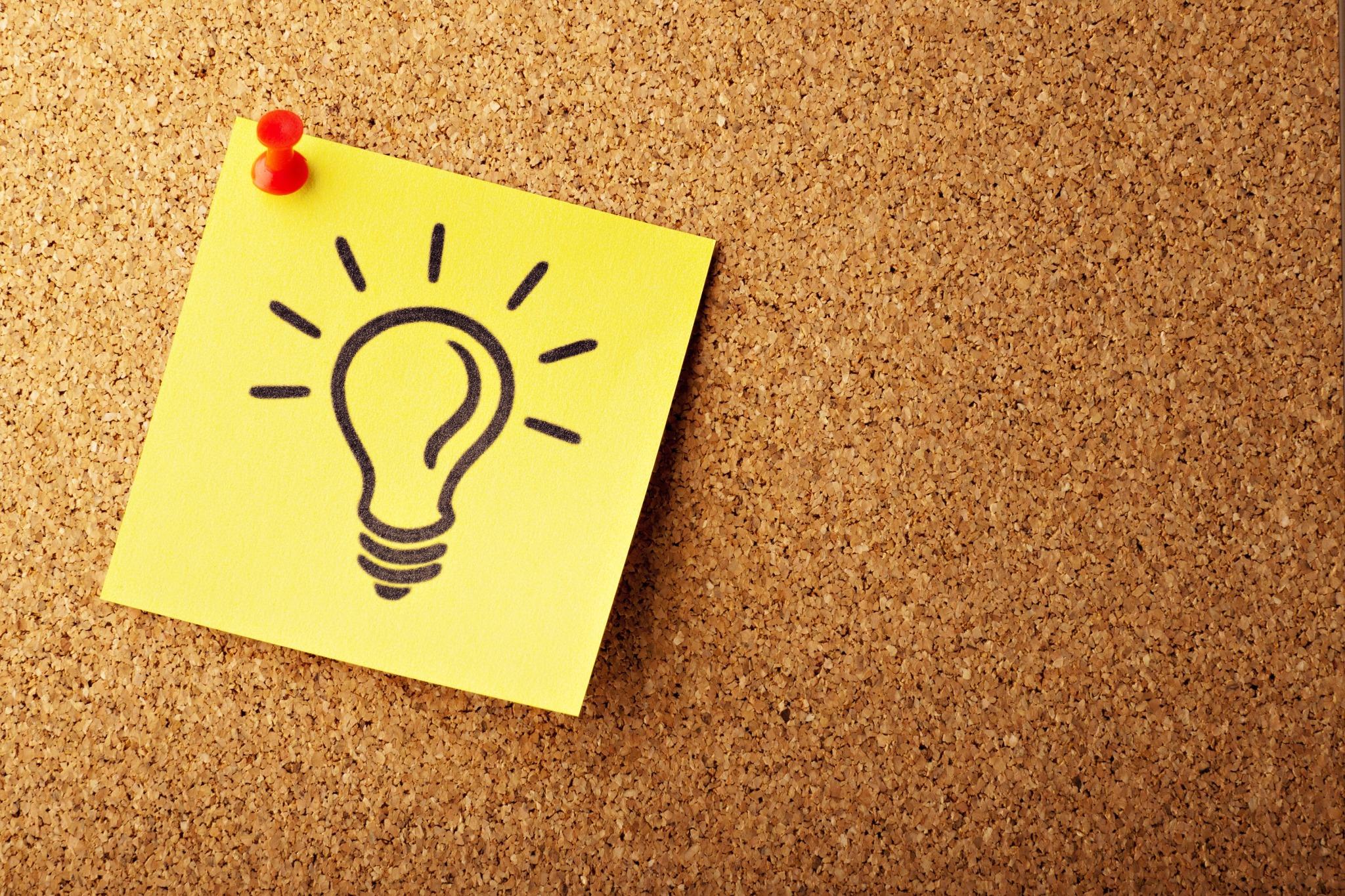 lightbulb drawing pin board idea epiphany