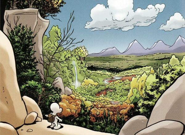 A panel spread from Jeff Smith's Bone