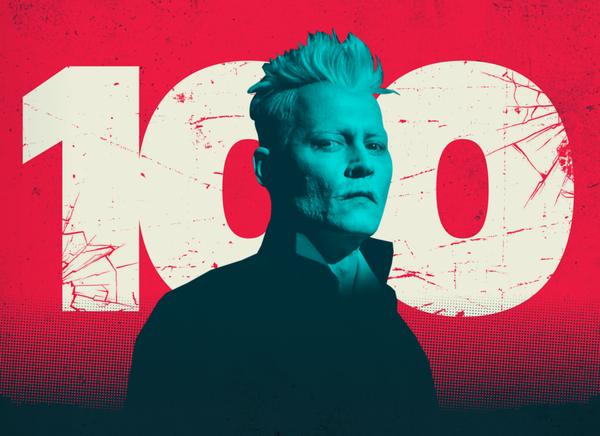FANDOM's banner for the 100 villains article