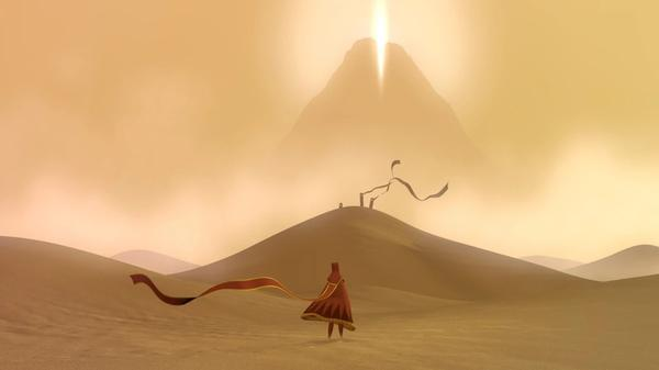 The main character of Journey walking through the sand
