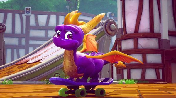 Spyro the dragon on a skateboard