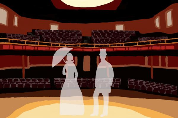 A drawing of the inside of the Twin City Opera House, done by Ashton Nichols
