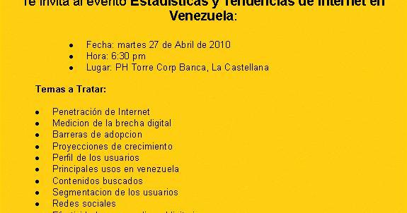 Estadísticas y Tendencias de Internet en Venezuela 2010 / Yacarlí Carreño Santamaría / Tendencias Digitales