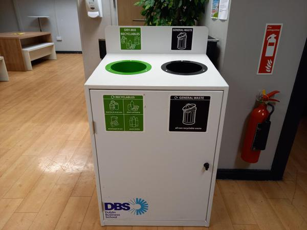 Recycling and litter bins at DBS