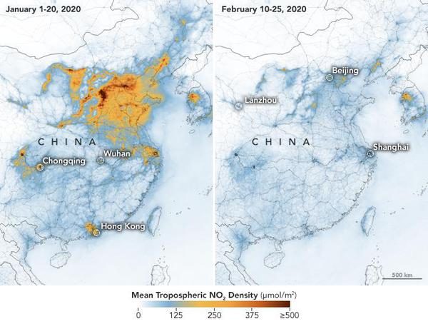 NASA Air pollution over China