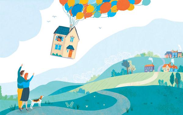Drawing of a flying house with balloons